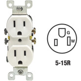 Receptacle Duplex 15A White 5-15R Shallow (10)